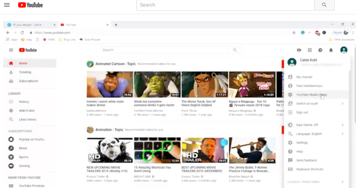 Create YouTube channel account