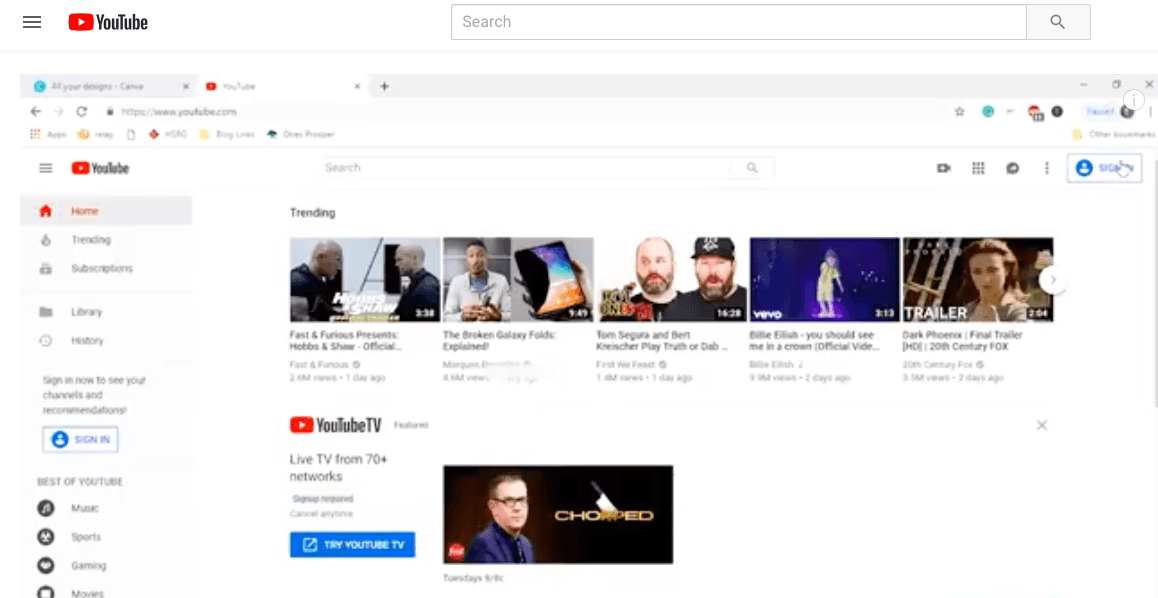 How to sign in to You Tube